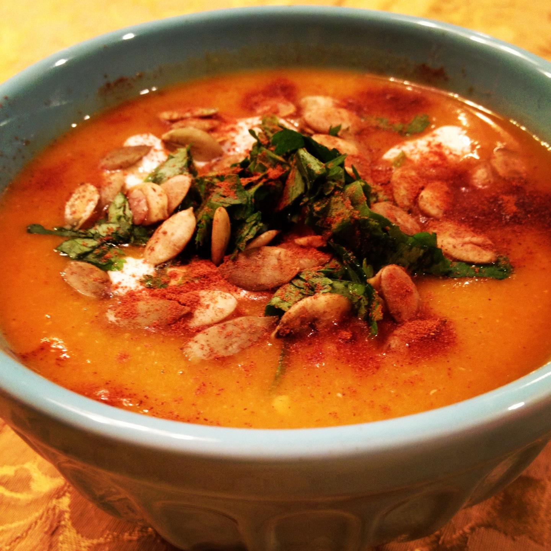 Red lentil pumpkin soup