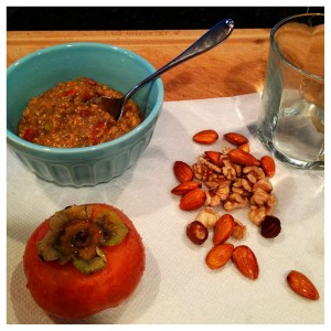 Overnight oats with persimmon and soaked nuts