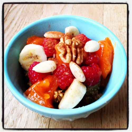 Persimmon, banana, raspberries, soaked nuts